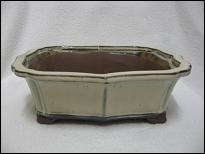 Bonsai Pot, Rectangle (Shaped), 25cm, Cream, Glazed