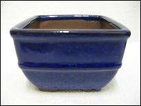 Bonsai Pot, Square, 11cm, Blue, Glazed