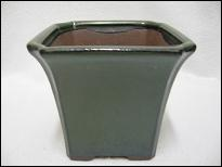Bonsai Pot, Square, 12cm, Green, Glazed